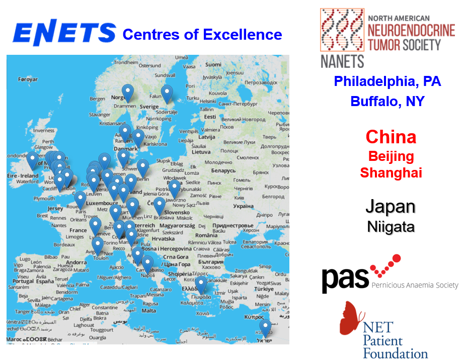 Centres with g-NETs patients in Europe, USA, China and Japan, and patient organisations